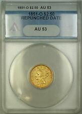 1851-O Repunched Date $2.50 Liberty Quarter Eagle Gold Coin ANACS AU-53 ES