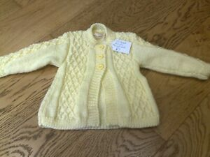 Baby hand knitted lemon cardigan/jacket 3-6 months NEW
