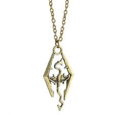 Dragon Pendant Charm Cool The Elder Skyrim Scrolls Logo Necklace Chain CHI