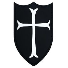 AIRSOFT CRUSADER CROSS SHIELD RUBBER 3D NAVY SEALS PATCH BLACK WHITE PVC LARGE