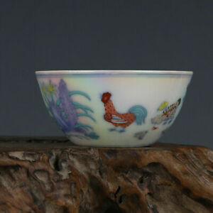 Chinese Contrasting Color Porcelain Pearl Glaze Chicken Design Bowl Cup 3.2 inch