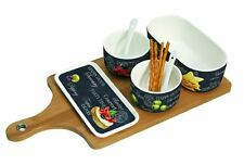 EasyLife Porcelain Gourmet Serving Set On Bamboo Tray