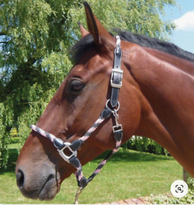 JHL Rope Headcollar - Pink/Grey - Pony - WAS £ 21.70