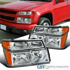 04-12 Chevy Colorado GMC Canyon Clear Lens Headlights+Corner Bumper Lamps Pair