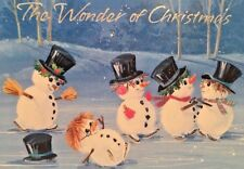 Vintage 70's Ice Skating Snowmen Christmas Wishes Greeting Card New W/ Envelope