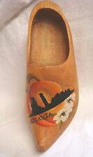 "1983 Handmade & Signed ""Sieg"" Large Wooden Shoe - Atlanta Skyline - Rj Wood"