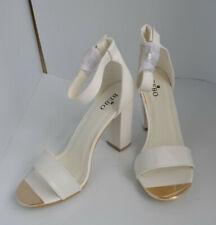 "White Bebo Aliya-1 shoes/sandals. Size 7. Gold trim. 4"" high heel. Ankle strap."