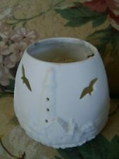 2 Nautical Votive Candle Holders-A White Ceramic Multiuse & A Clear Green Glass
