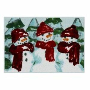 St Nicholas Square Winter  3 Snowmen Throw Rug 20x30 Non Skid Bath Mat