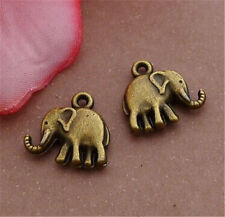 PJ589 12pc Antique Bronze elephant Pendant Bead Charms Accessories wholesale