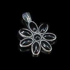.925 Sterling Silver Natural Black Onyx Flower Pendant
