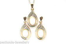 9ct Gold Mother of Pearl Pendant and Earring Set Made in UK Gift Boxed