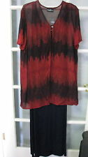 Ladies size 16 maxi dress tunic top jacket womens red Navy sheer short sleeve