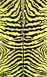"4'3"" x 6'6""  Area  Rug Wild Animal Zebra Skin Design Safari  Yellow & Black 5x7"