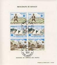 BLOC TIMBRE DE MONACO OBLITERE N° 17 HISTOIRE DU SERVICE DES POSTES