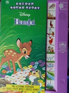 """Vintage 1991 Disney Golden Sound Story Book """"Bambi"""" Electronic Touch WORKS!!"""