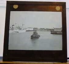 Antique Glass slide Tug And Peter Maersk ship Panama  1930's