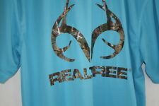 Realtree Shirt Mens size M Blue Athletic Summer Camo Deer Horns Real Tree  --ZZX