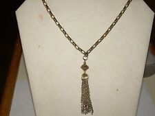 "Vintage Goldtone Link Chain w/Chain  Tassle Bell Pendant Necklace - 28"""