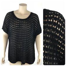 Torrid Top 3 Women Plus 3X Black Open Weave Thin Sweater Blouse Sheer Back New