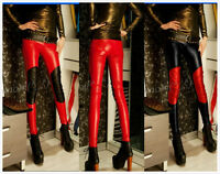 Womens Skinny Slim Nightwear Show Sexy Black Red Trousers Faux PU LEATHER Pants