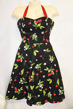 Hearts & Roses Cherry 6 S M Dress Rockabilly Tea Halter Sweetheart Retro Pinup