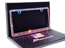 Luxury 4 ROW PINK Crystal Embedded CHROME Metal License Plate Frame GIFT BOX