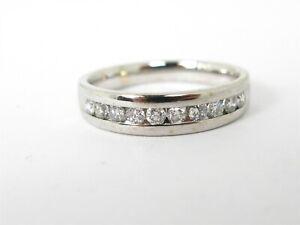Estate 14k White Gold 5mm .50ctw Diamond Comfort Fit Mens Band Ring 4.6g