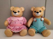 Homco Home Interiors Vintage Boy and Girl Dressed Bear Figurines - Set of Two