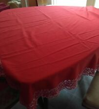 "Vintage MCM Red W/White Lace Trim​ Cotton Tablecloth 98"" x 65""  W/12 Napkins"