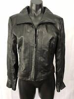 Kenneth Cole New York Womens Size Medium Black Cropped Leather Jacket Pockets