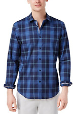 Calvin Klein Men's Sebastian Plaid Cotton Shirt , Codel Navy, Size M, MSRP $79