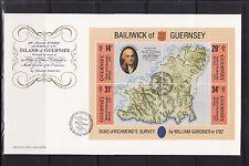 Guernesey  enveloppe  bloc feuillet carte de l'ile  duc de Richemond   1987