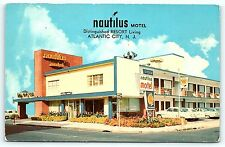 Postcard NJ Atlantic City Nautilus Motel 1950's Old Cars B11