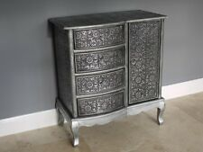 Embossed French Style Cabinet 1 Door 4 Drawers Storage Chest Floral Cupboard New