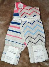 NWT $18 2 Pair Perry Ellis Rayon Zig Zag Stripe Casual Beige Socks Shoe 7-12