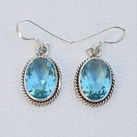 925 Sterling Silver Oval Shape Blue Topaz Stone Handmade Earrings KGJ-E-1023