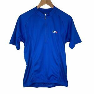 Louis Garneau Cycling Jersey Biking Red Men's Small Blue Bottle Pockets Zip Neck
