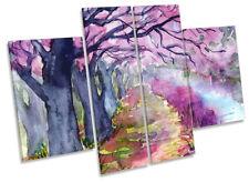 Lienzo Enmarcado Acuarela Paisaje árbol de color rosa PRINT cuatro Panel Pared Arte