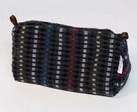 "Washbag made of British Rail Grey ""Trojan""  Moquette Fabric Retro 1960s Look"
