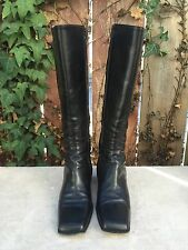 Barneys New York Co Op Black Leather Knee High Boots EU SZ 37
