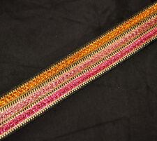 "1"" Wide Jacquard Metallic Tri-Colour Ribbon Trim/Lace - 16 Colours - 1 Metre"
