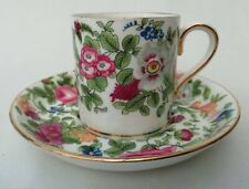 More details for crown staffordshire vintage floral demitasse coffe cup can & saucer