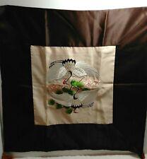 Euro Pillow Shams Brown Border Funny White Black Egret Looking Birds Set of 2