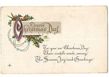 A JOYOUS CHRISTMAS DAY Postcard Holly Springs Leaves & Berries USA LSC