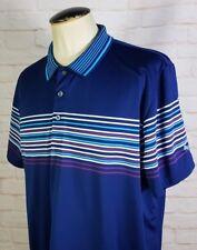 PUMA Dry Cell Polo Golf Shirt Short Sleeves Navy Blue Tech Wrap Striped Men's XL