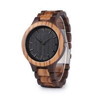 Mens Wooden Black & Zebra Sandalwood Wood Quartz Casual Watch Gift for Dad Men