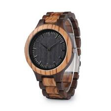 Para hombre de madera negro y zebra Sándalo Madera de Cuarzo Casual reloj de regalo para papá hombres