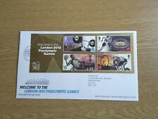 GB LONDON E20 PMK FDC 2012 WELCOME TO PARALYMPIC GAMES MINIATURE SHEET
