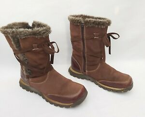 SKECHERS BROWN LEATHER & SUEDE ANKLE BOOTS FAUX FUR TRIM UK5 EU38 FREE UK P&P!!